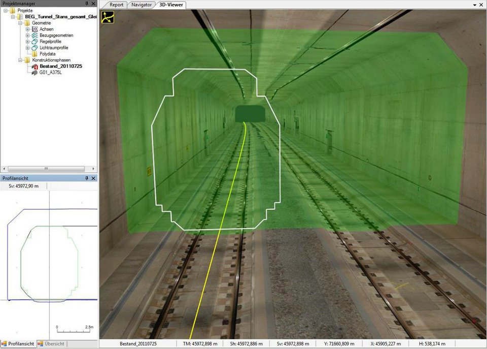 Stanser Tunnel: dynamische Lichtraumanalyse