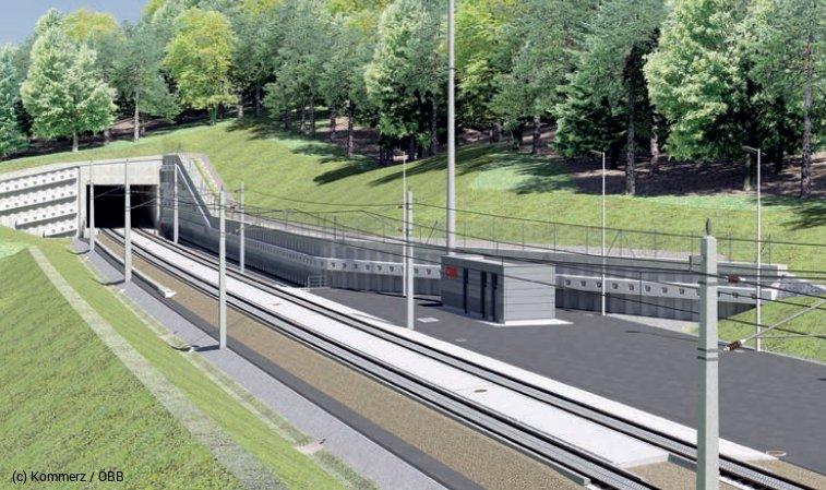 Visualisierung Tunnel Untersammelsdorf Westportal mit Technikgebäude, Tunnelrettungsplatz und Stützmauer